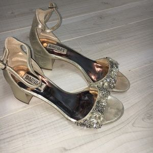 Badgley Mischka gold beaded rhinestone heels